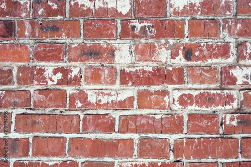 Papiers peints Brick wall Brick wall, old texture of red stone blocks. Background.