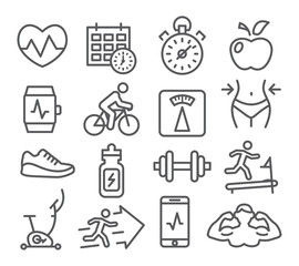 Fitness and Gym line icons © ihorzigor