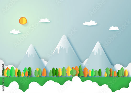 Aluminium Lichtblauw Green eco friendly and nature forest landscape background.Paper art of ecology and environment conservation creative idea concept design.Vector illustration.