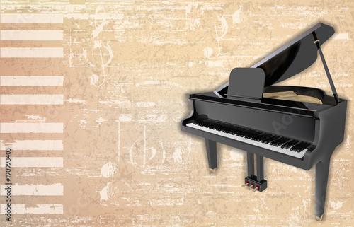 Fotobehang Muziek abstract grunge background with grand piano