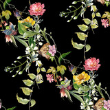 Watercolor painting of leaf and flowers, seamless pattern on dark background - 191000233