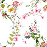 Watercolor painting of leaf and flowers, seamless pattern on white background - 191000251