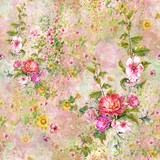 Watercolor painting of leaf and flowers, seamless pattern - 191000487