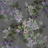 Watercolor painting of leaf and flowers, seamless pattern on gray background - 191000604