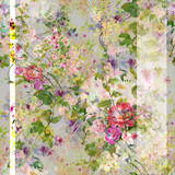 Watercolor painting of leaf and flowers, seamless pattern - 191000645