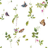 Watercolor painting of Butterfly and flowers, seamless pattern on white background - 191000657