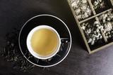 Tea on wood background.
