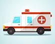 Ambulance Car. Flat Design Vector Illustration.