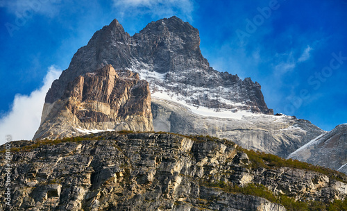 Close up picture of the Cuernos del Paine rock formations in the Torres del Paine National Park, Chile.