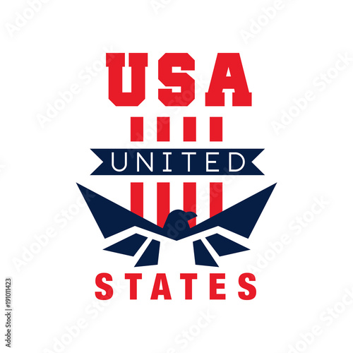 American logo template with eagle silhouette. USA. Independence day. National icon in red and blue colors. Original flat vector design for print, sticker or poster