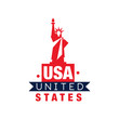 Monochrome emblem with Statue of Liberty silhouette. United States of America. National symbol in red-blue color. Flat vector design for logo, card or poster