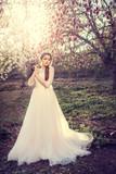 Beautiful bride posing near magnolia tree. Woman in white dress in spring garden. - 191013650