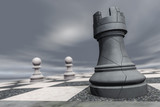 a rook on a chessboard crashes (3d rendering) - 191016214