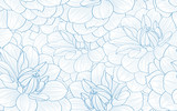 Seamless pattern with hand drawn dahlia flowers. - 191021053
