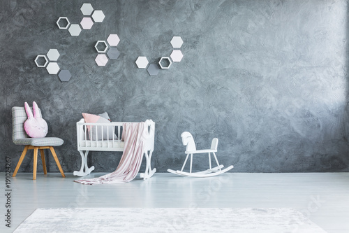 Nursery with cradle and rocking horse