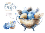 Watercolor happy easter vase illustration with flowers, feathers and eggs. Spring holiday decoration. April boho design. - 191027800