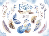 Watercolor happy easter set with flowers, feathers and eggs. Spring holiday decoration. Hand drawn April boho design. - 191028277
