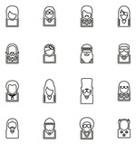 Avatar Icons Famous Musicians Set 2 Thin Line Vector Illustration Set