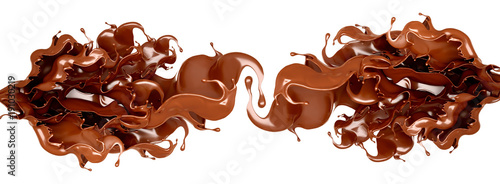 A splash of chocolate on a white background. 3d illustration, 3d rendering. - 191030219