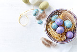 Speckled Easter Eggs in a Ceramic Bowl (flat lay arrangement) - 191030451