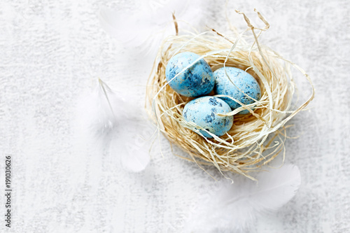 Blue Easter Eggs in a Nest
