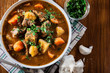 Irish stew made with beef, potatoes, carrots and herbs - 191031603
