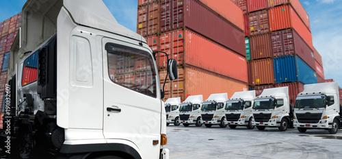 New truck fleet in container depot.