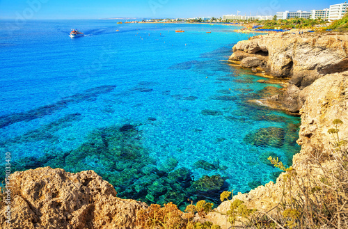 Ayia Napa coastline. Mediterranean sea of turquoise color near Cyprus.