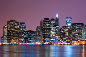 Downtown FInancial District skyline and East River, Manhattan, New York City, New York, United States