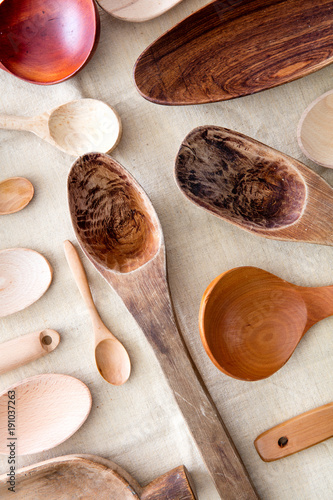 Rustic, cut out wooden spoons for concept of ethnic cuisine