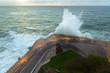 Waves breaking on New Promenade of San Sebastian, Spain