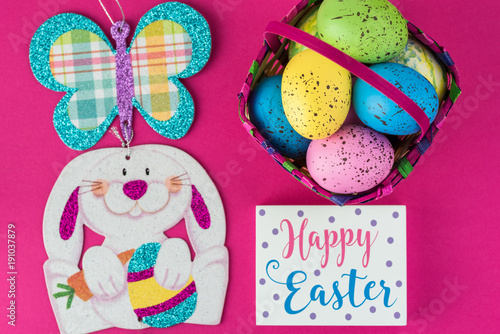 Childrens Easter baskets with eggs.