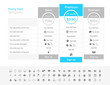 Pricing table with 3 plans and one recommended. Light grey and light blue colour scheme. - 191041867