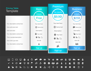 Pricing table with 3 plans and one recommended. Blue header colour scheme and dark background