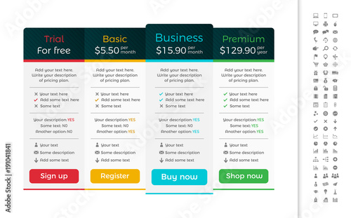 Light pricing table with dark header and one recommended option