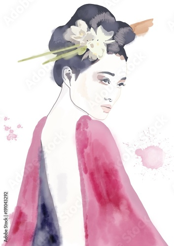 Geisha asian girl with flower in hair watercolor painting. Fashion illustration - 191043292