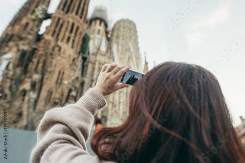 Fotobehang Barcelona travel Sagrada Familia tourist Barcelona Spain