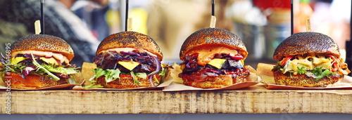 Leinwandbild Motiv vegan burger in the street market