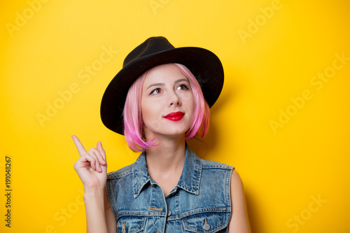 young style hipster girl with pink hair style