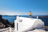 Santorini Oia Greece young man on vacation holiday in Greece - 191051853