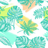 Decorative seamless pattern with ink hand-drawn Tropical leaves. Vector illustration. - 191052079