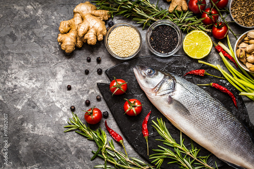 Fish, sea bass and ingredients for cooking: vegetables, spices, herbs - 191052007