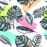 Decorative seamless pattern with ink hand-drawn Tropical leaves. Vector illustration. - 191052264