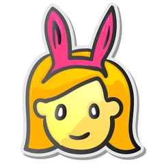 Funny playgirl sticker, emoji smiley face