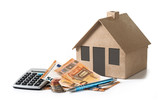 money and calculator in front of a house model from cardboard, financial planning  for property investment or rental costs for a home, isolated with shadows on a white background - 191059282