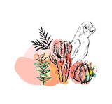 Hand drawn vector abstract ink drawing sketch illustrations collage with tribal tropical wildlife parrots and cactus plants isolated on white background - 191060247