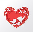 Paper red heart and two birds