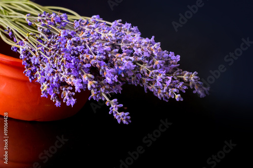 Fotobehang Lavendel Bunch of wild mountain lavender flowers on black background and clay pot with reflection, copyspace