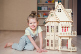 child playing and building house  - 191065491