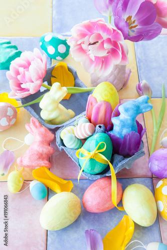 Leinwanddruck Bild Bunte Dekoration zu Ostern